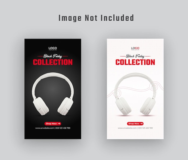 Black friday gadget collection instagram story and web banner  premium vector