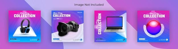 ブラックフライデーガジェットコレクションソーシャルメディア投稿instagramバナーとウェブバナープレミアムベクター