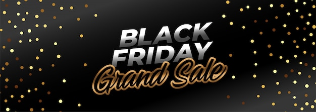 Black friday ggrand sale banner in gold theme
