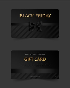 Black friday gift card. commercial discount coupon. black background with gold lettering.