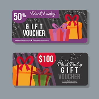 Black friday gift coupon promotional template