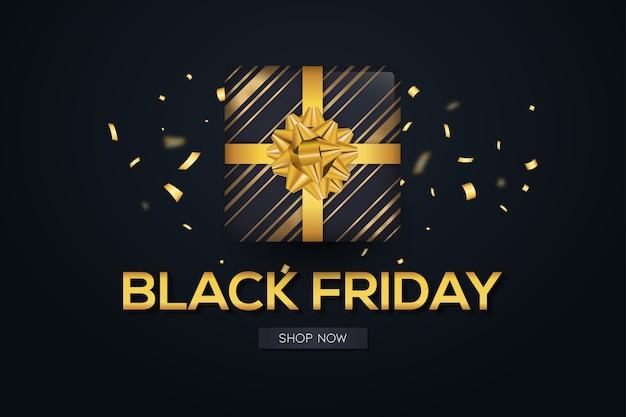 Черная пятница продажа подарков реалистичный фон