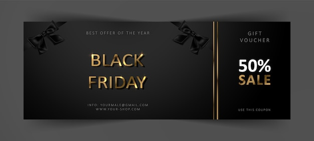 Подарочный сертификат на черную пятницу. купон на коммерческую скидку. черный фон с золотыми буквами.