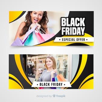 Banner di ragazze venerdì nero Vettore gratuito
