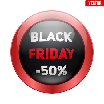 Black friday glass button. sale