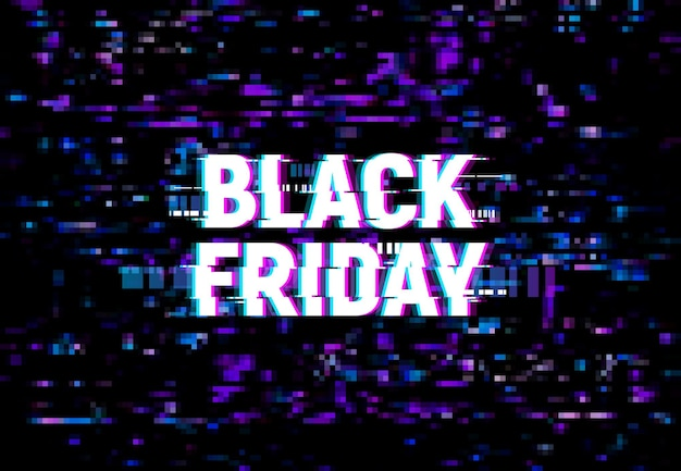 Черная пятница глюк фон, вектор рекламный плакат