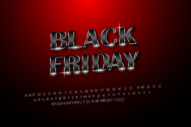 Black friday glossy shiny black style with silver. concept sales on black friday with the style of the english alphabet.black on red background gradient graphic design
