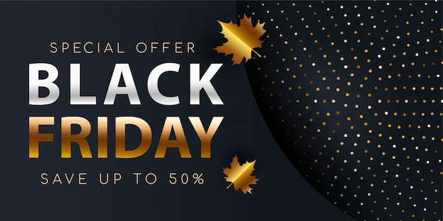 Black friday gold background flyer template.