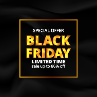 Black friday golden glow color text with wave black fabric texture background