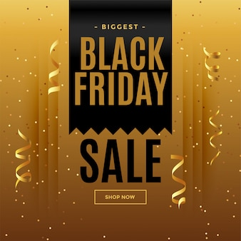 Black friday golden sale banner in celebration style