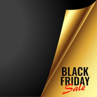 Black friday golden sale banner in paper curl style