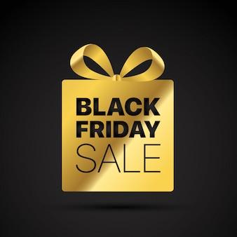 Black friday golden shopping tag.