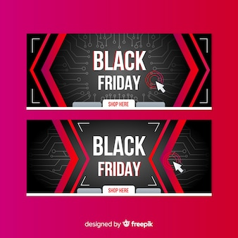 Black friday gradient collection of banners