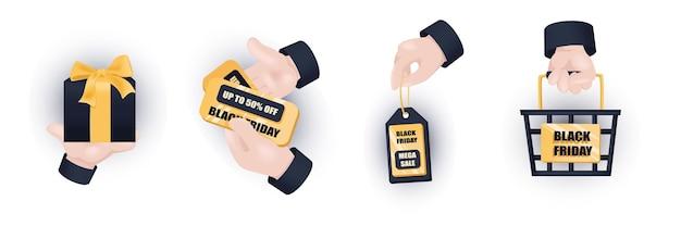 Черная пятница графическая концепция руки набор. человеческие руки держат подарок, знак со скидкой, этикетка со скидкой, корзина для покупок. день мега-распродажи. векторная иллюстрация с 3d реалистичными объектами