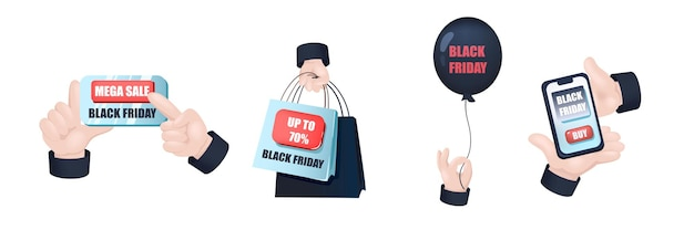 Black friday graphic concept hands set. human hands holding mega sale sign, bags with discount prices, black balloon, mobile phone with online shopping. vector illustration with 3d realistic objects