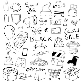 Black friday hand drawn doodle  illustration