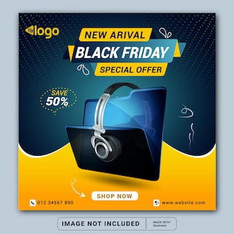 Black friday headphone brand product social media banner design template or square flyer