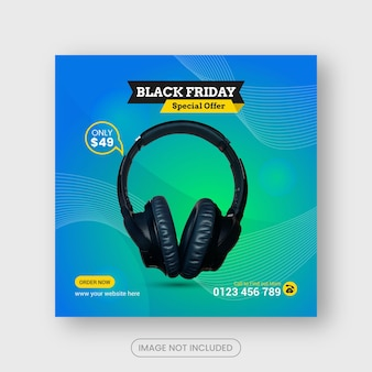 Black friday headphone social media post  or instagram banner templates premium vector