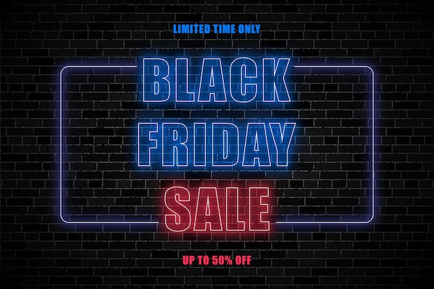 Black friday horizontal banner design template with glowing neon signs
