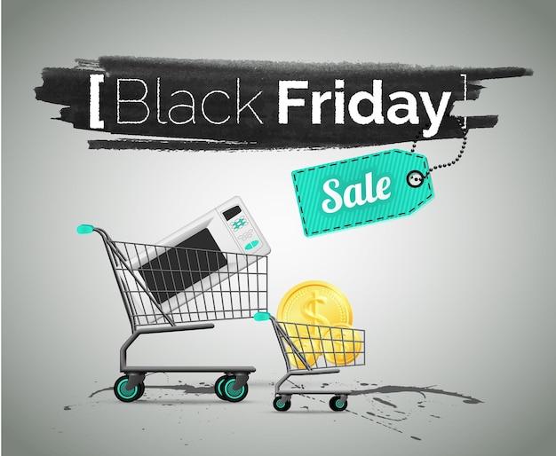 검은 금요일, 가전 제품 판매 벡터 일러스트 레이 션. 흥정, 특별 행사 및 할인 광고. 저렴한 가격으로 쇼핑하는 프로모션 배너 템플릿입니다. 장바구니에 담긴 전자레인지