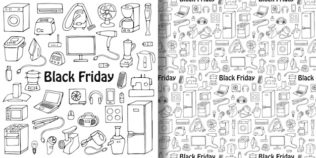 Black friday household appliances set and seamless pattern