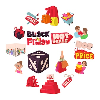Black friday icons set, cartoon style.