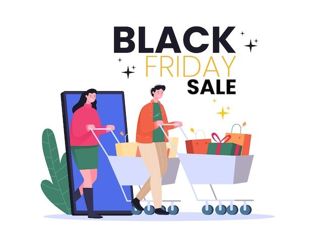ブラックフライデーのイラストのコンセプト、買い物かごを押す男性と女性、オンラインショッピング、割引、ソーシャルメディアのイラスト