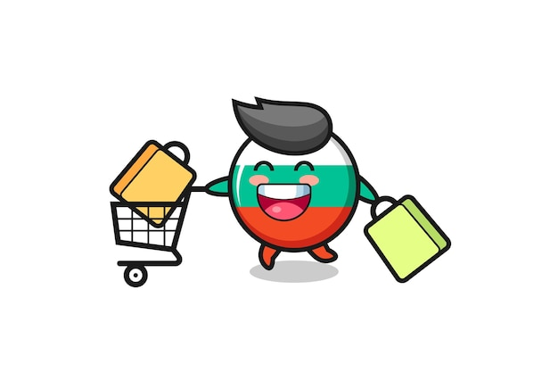 Black friday illustration with cute bulgaria flag badge mascot , cute style design for t shirt, sticker, logo element
