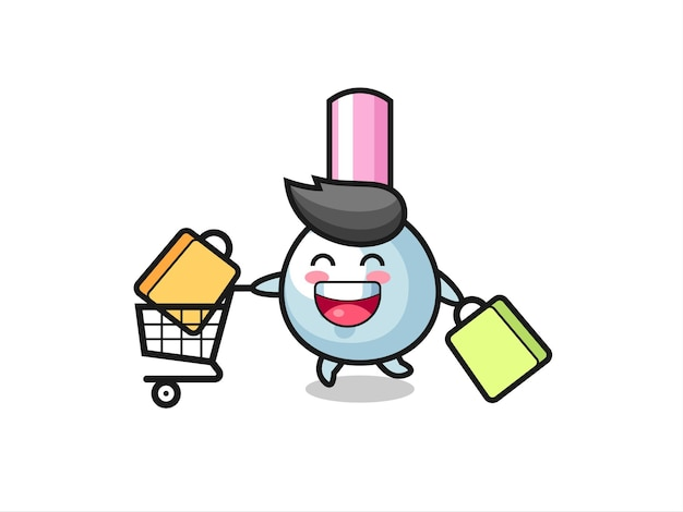 Black friday illustration with cute cotton bud mascot , cute style design for t shirt, sticker, logo element