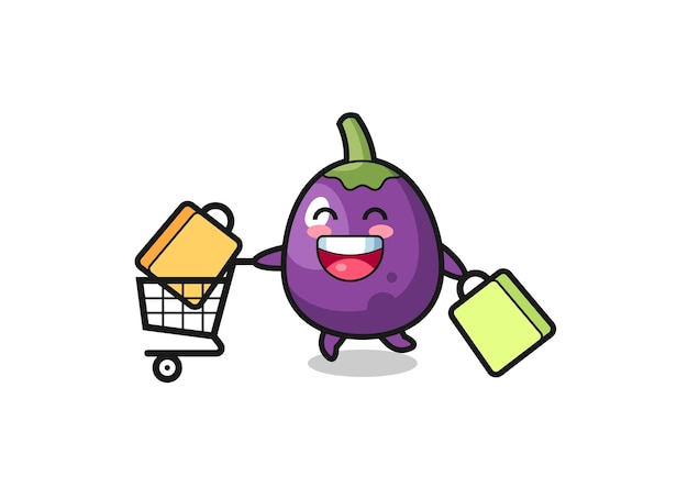 Black friday illustration with cute eggplant mascot cute eggplant character is holding an old telescope