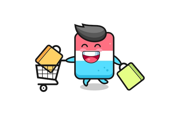 Black friday illustration with cute eraser mascot , cute style design for t shirt, sticker, logo element