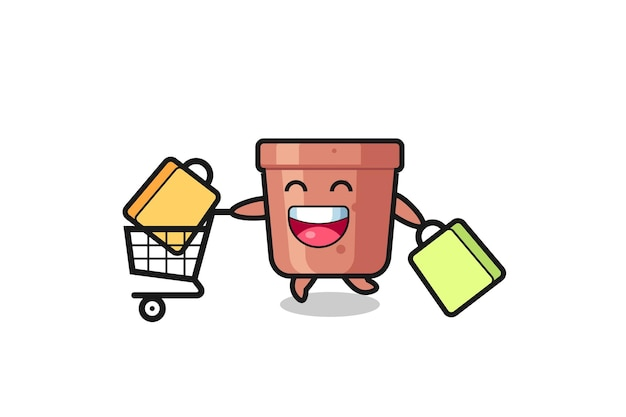 Black friday illustration with cute flowerpot mascot , cute style design for t shirt, sticker, logo element