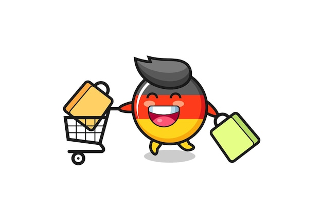 Black friday illustration with cute germany flag badge mascot , cute style design for t shirt, sticker, logo element