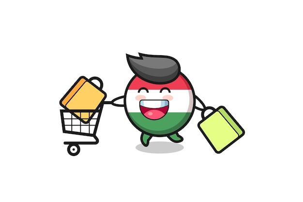 Black friday illustration with cute hungary flag badge mascot , cute style design for t shirt, sticker, logo element