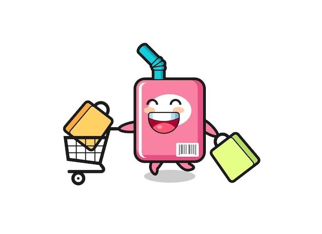 귀여운 우유 상자 마스코트가 있는 블랙 프라이데이 일러스트레이션, 티셔츠, 스티커, 로고 요소를 위한 귀여운 스타일 디자인