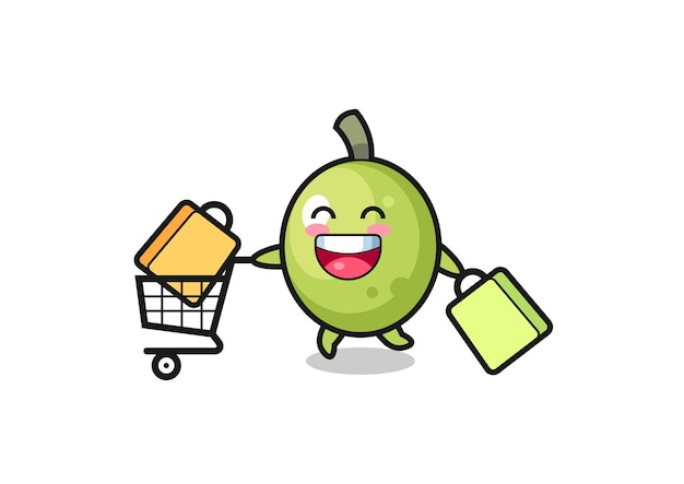 Black friday illustration with cute olive mascot , cute style design for t shirt, sticker, logo element
