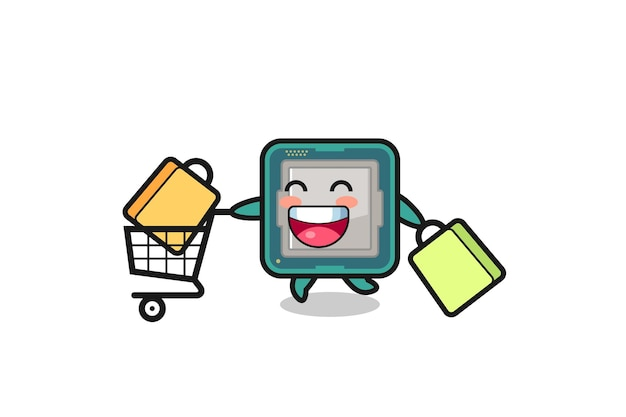 Black friday illustration with cute processor mascot , cute style design for t shirt, sticker, logo element