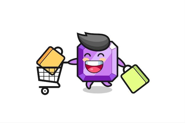 Black friday illustration with cute purple gemstone mascot , cute style design for t shirt, sticker, logo element