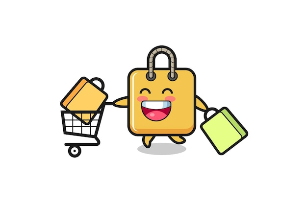 Black friday illustration with cute shopping bag mascot , cute style design for t shirt, sticker, logo element