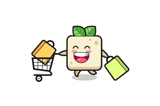 Black friday illustration with cute tofu mascot , cute style design for t shirt, sticker, logo element