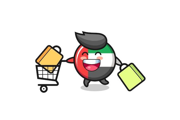 Black friday illustration with cute uae flag badge mascot , cute style design for t shirt, sticker, logo element