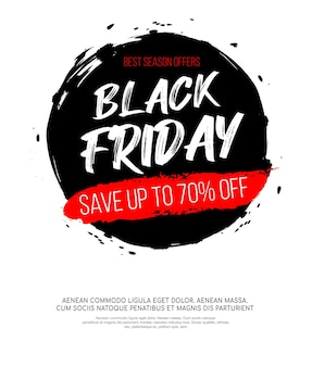 Black friday inscription on abstract black ink round spot for sale and discount