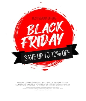Black friday inscription on abstract red ink round spot for sale and discount