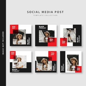 Black friday instagram post template collection