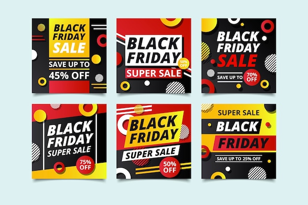 Black friday instagram posts in flat design