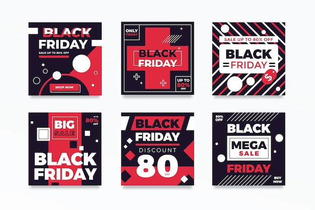 Black friday instagram posts in flat design