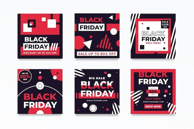 Черная пятница instagram посты в плоском дизайне