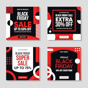 Black friday instagram posts pack