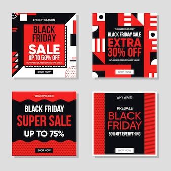 Set di post di instagram del venerdì nero