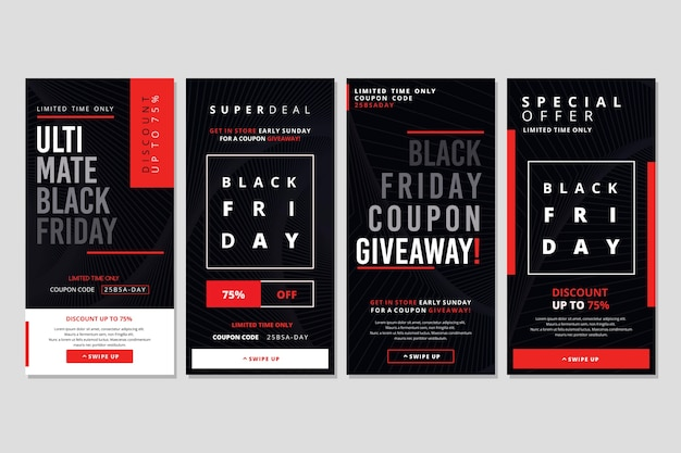 Black friday instagram stories collection